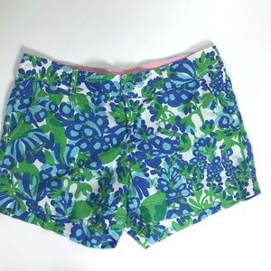 Lilly Pulitzer Blue Shorts 10 Flowers Bumblebees